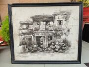 Antique House Filled With Pitcher Painting Print On Glossy Texture Sheet Framed