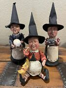 Poliwoggs Halloween By Dept. 56–set Of 3 Witches W/skull, Moon, Black Cat-retire
