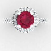 Real 1.25 Ct Diamond Wedding Ruby Gemstone Rings Solid 18k White Gold Size 7 8 9