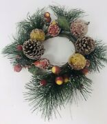 Pine Wreath Frosted Glitter Pine Cones Berries Fruit Christmas Winter 10andrdquo