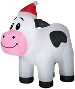 3and039 Gemmy Airblown Inflatable Christmas Cow Wearing A Santa Hat Yard Decor 114566