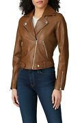 Slate And Willow Toffee Classic Leather Moto Jacket Xl Asymmetrical Zip Collared