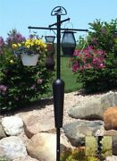 Squirrel Stopper Deluxe Bird Feeder Post And Plant Stand - Black   Sqc05