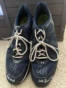 Aaron Judge Autographed Inscribed 2014 Game Used Ua Shoes Ny Yankees