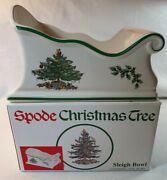 New Spode Christmas Tree Pattern Sleigh Bowl New In Box Perfect Gift Condition