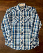 Nwt Bke Athletic Fit Snap Button Mens Shirt Long Sleeve Plaid Blue