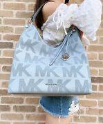 Joan Large Pale Blue Logo Perforated Leather Slouchy Shoulder Bag