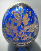 Vintage Etched Faberge Russian Cobalt Cut Glass Egg No Stand Sorry