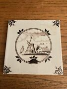 """Vintage Dutch Holland Wall Ceramic Tile Hand Painted 5""""x5"""" Sepia Delft Windmill"""