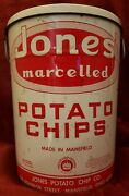 Vintage Jones Potato Chip Can Tin Mansfield Ohio Large 24 Oz Marcelled Chips Usa