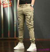 Mens Harm Pants Trousers Cargo Casual Overalls Multi Pockets Hip Pop Skinny 2021