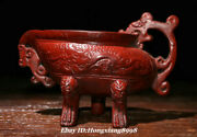 4.3 Old China Red Lacquerware 3 Legs Dragon Handle Wine Glass Drinking Cup
