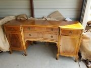Stunning Server Buffet China Cab And Dining Table 6 Chairs 5 Leaves