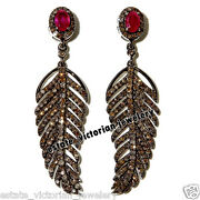Victorian 5.02cts Rose Cut Diamond Ruby Silver Gorgeous Feather Earring Jewelry