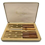 Vintage Queen Steel Steak Knife Cutlery Set Made In Usa With Display Box