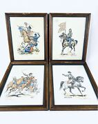 4 Confederate And Union Civil War Watercolor And Black Pen Prints Framed Signed
