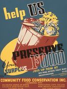 Vintage American Government Works Poster Help Us Preserve Your Surplus Food