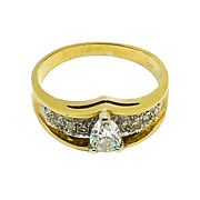 14k Solid Yellow Gold Diamond Pear Shape Engagement Ring 2816