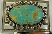 Xl 3+ozt. Signed Frank Patania Belt Buckle With Oval Turquoise Sterling Silver