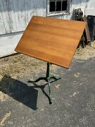 Rare Anderson Brooklyn Ny Drawing Drafting Table Cast Iron Maple Vintage Green