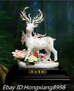 16and039and039 Old China Ming Dynasty Dehua Color Porcelain Peony Rose Sika Deer Statue