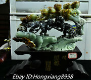 14and039and039 Exquisite Natural Jade Carved Peach 3 Only Little Monkey Monkeys Statue