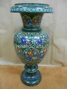 Marble Flower Pot Hand Crafted Table Master Piece With Floral Design 21 Inches