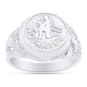 Zodiac Sign Charm W/ Spelling Rings For Menand039s 14k White Gold Nuggets Ring
