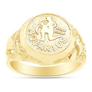Zodiac Sign Charm W/ Spelling Rings For Menand039s 14k Yellow Gold Nuggets Ring