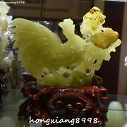 13excellent Natural Green Jade Chicken Rock Rooster Morning Glory Flower Statue