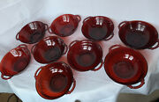 Anchor Hocking 9 Coronation Ruby Red Glass 6.5andrdquo Double Handle Nappy Bowls 1936