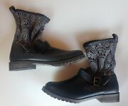 Women's Mudd Navy Crochet Top Country Boots With Buckle New Size 9