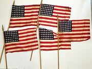 5 Lot Antique 1930s Vtg 48-star Cloth American Parade Flags Gold Tip Rod 12x16