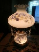 Vintage 1970sl And Lwmc Blue Rose Gone With The Wind 3 Way Hurricane Lamp 22 Tall