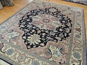 8x10 Romanian Herize Oriental Area Rug Wool Hand-knotted Navy Pink Mauve Blue