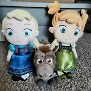 Disney Store Frozen Plush Young Anna And Elsa Doll Big Head 13 W/ Sven Official