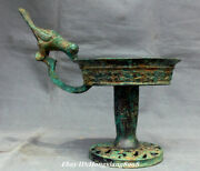 11.8 Old China Bronze Ware Shang Dynasty Bird Handle Candle Holder Candlestick
