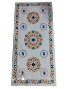 Marble Inlay Dinette Table Top With Multi Gemstones Coffee Table 30 X 72 Inches