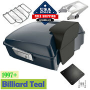 Billiard Teal Chopped Tour Pack Pak Trunk Luggage For 97+ Harley By Advanblack