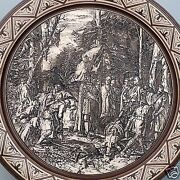 Antique Mettlach Etched Pottery Plaque 1048 No 4 - Irmensaule And Paderborn Pt