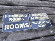Vintage Tin Hotel / Apt Signs 4 Furnished Rooms Etc 1930's Nos New Old Stock