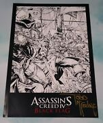 Assassins Creed Black Flag Black And White Promo Signed Lithograph Todd Mcfarlane