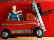 Vintage Modern Toys Fork Lift Battery Operated Tin Litho Japan Repair Rare