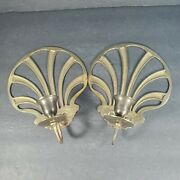 Pair Solid Brass Scalloped Shell Candlestick Holder Wall Sconces Art Deco Vtg