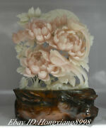 19.6 Natural Xiu Pink Jade Carving Subshrubby Peony Flower Birds Lucky Statue
