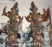 Large China Porcelain Painting Carved Door God Generals Beast People Statue Pair