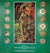 Dinomania 10 Uncirculated Coin Collector's Set W/ Display Case And 4 Posters New