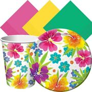 Tropical Luau Hawaiian Summer Theme Party Pack Tableware For 50 Guests Plates