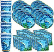 Dolphin Birthday Party Supplies Set Plates Napkins Cups Tableware Kit For 16