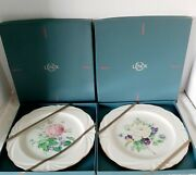 New Lenoxthe Rose Expressions Collection Set Of 2 Plates Pink White Roses Nice